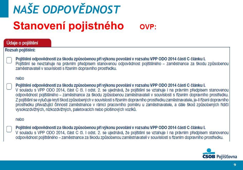 10 NAŠE ODPOVĚDNOST Stanovení pojistného OVP: