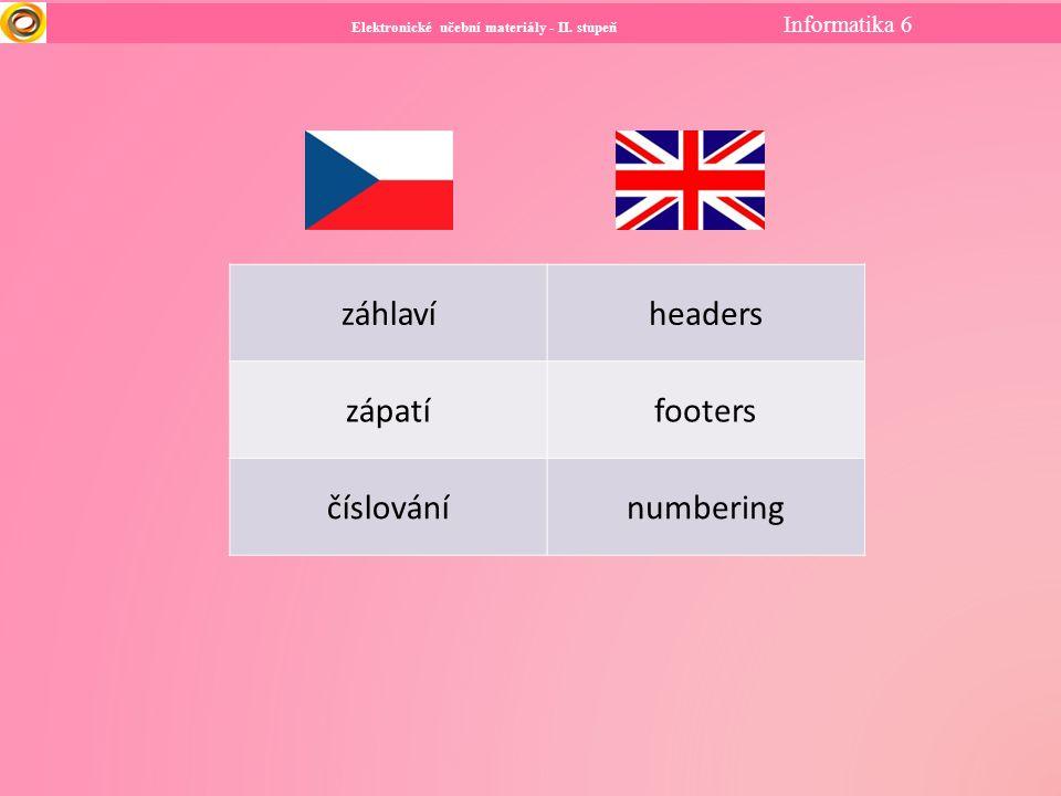 Elektronické učební materiály - II. stupeň Informatika 6 záhlavíheaders zápatífooters číslovánínumbering