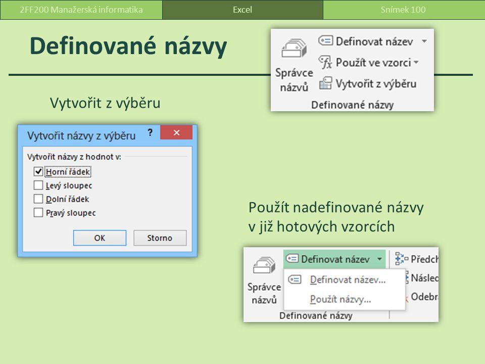 Definované názvy Vytvořit z výběru Použít nadefinované názvy v již hotových vzorcích ExcelSnímek 1002FF200 Manažerská informatika