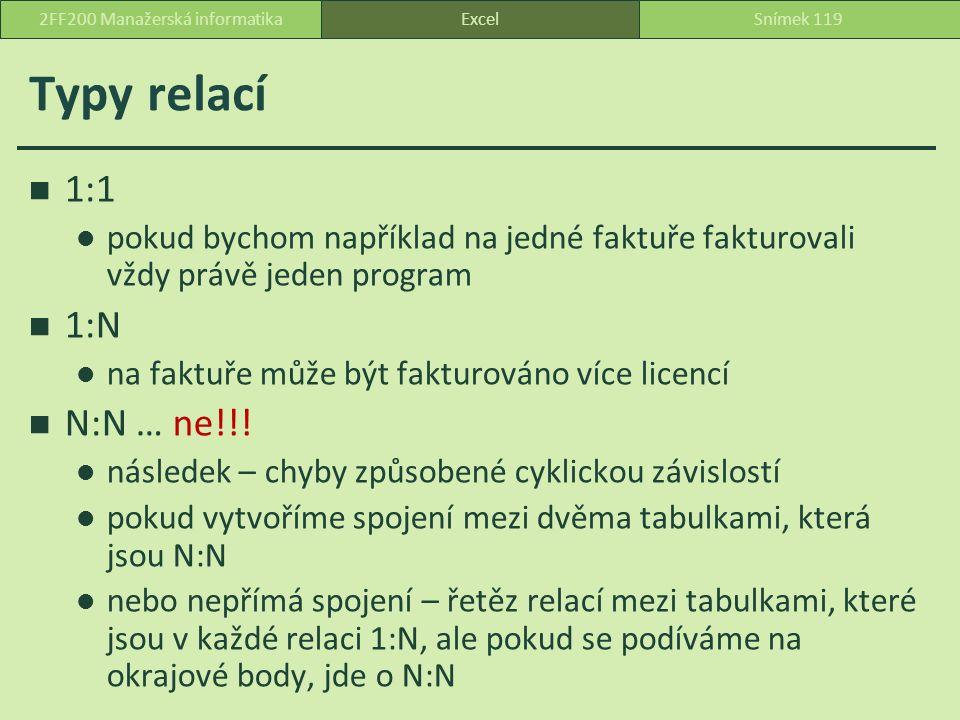 Typy relací 1:1 pokud bychom například na jedné faktuře fakturovali vždy právě jeden program 1:N na faktuře může být fakturováno více licencí N:N … ne!!.