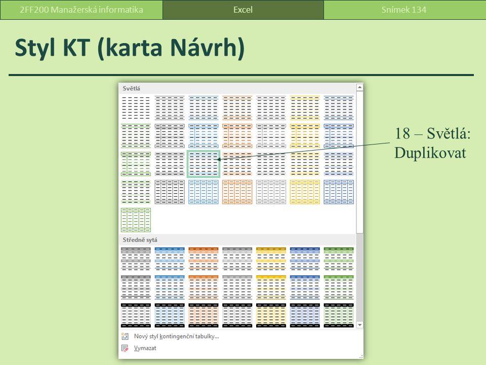 Styl KT (karta Návrh) ExcelSnímek 1342FF200 Manažerská informatika 18 – Světlá: Duplikovat