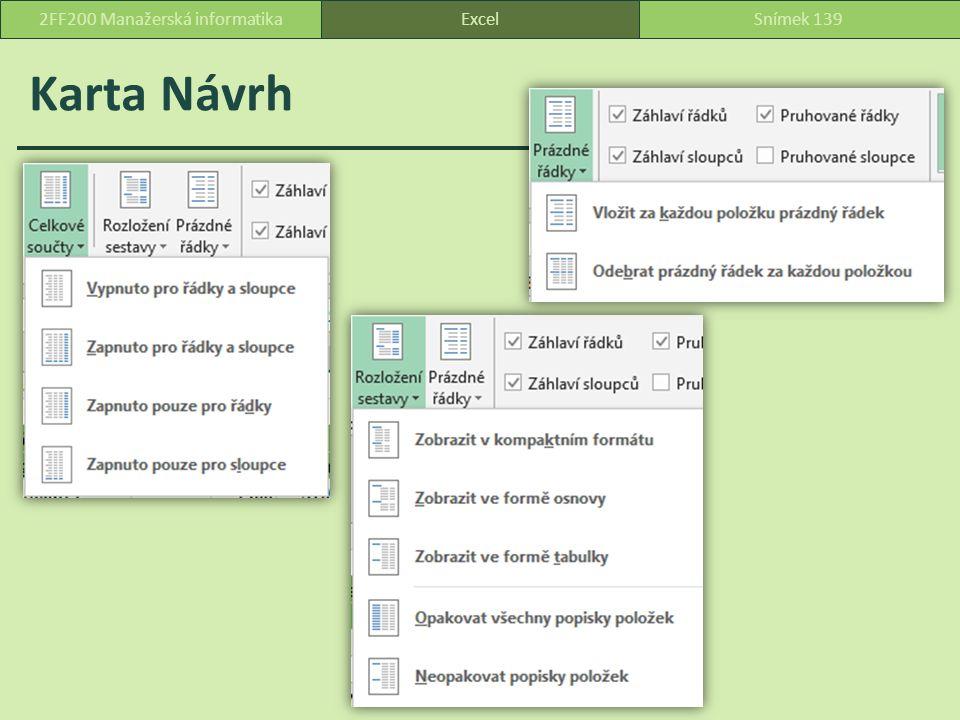 Karta Návrh ExcelSnímek 1392FF200 Manažerská informatika