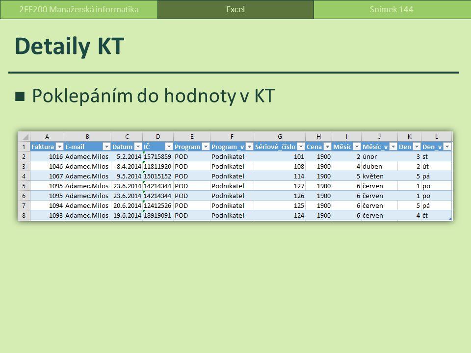 Detaily KT Poklepáním do hodnoty v KT ExcelSnímek 1442FF200 Manažerská informatika