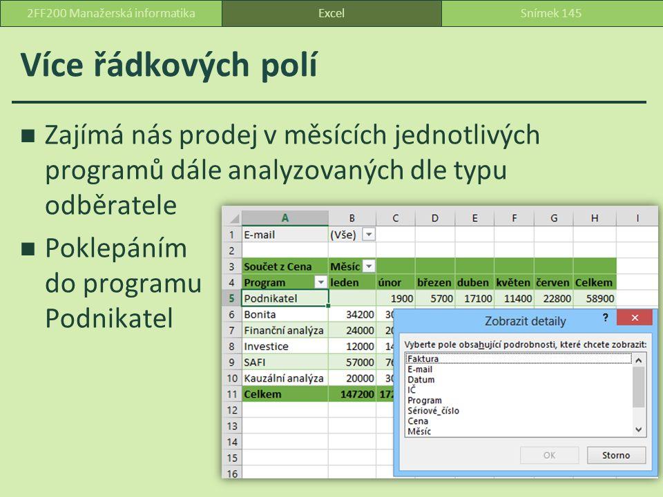 Více řádkových polí Zajímá nás prodej v měsících jednotlivých programů dále analyzovaných dle typu odběratele Poklepáním do programu Podnikatel ExcelSnímek 1452FF200 Manažerská informatika