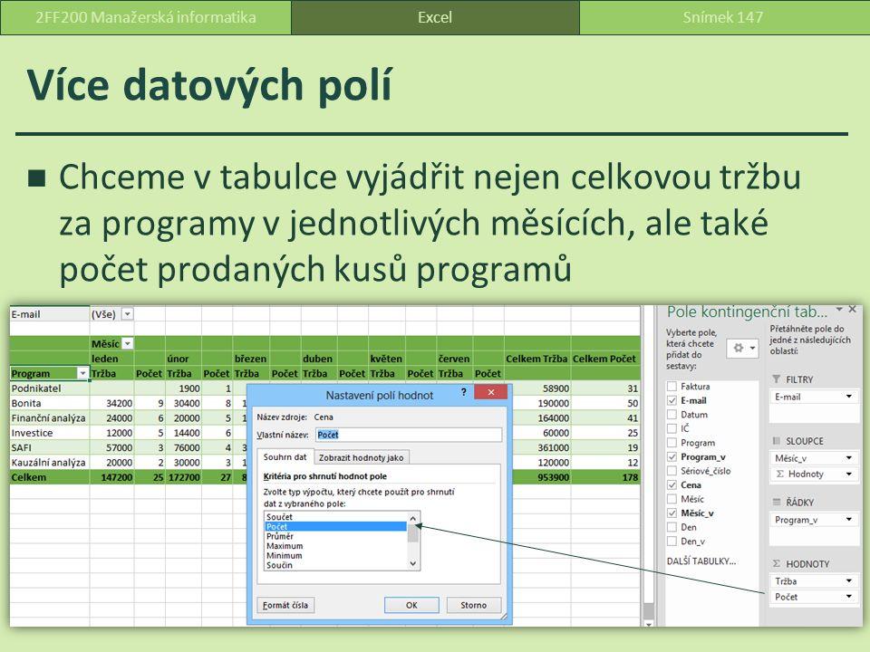 Více datových polí Chceme v tabulce vyjádřit nejen celkovou tržbu za programy v jednotlivých měsících, ale také počet prodaných kusů programů ExcelSnímek 1472FF200 Manažerská informatika