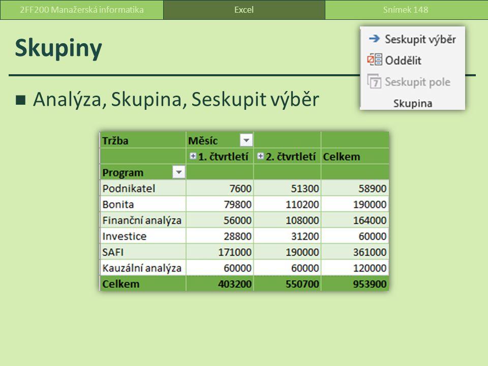 Skupiny Analýza, Skupina, Seskupit výběr ExcelSnímek 1482FF200 Manažerská informatika