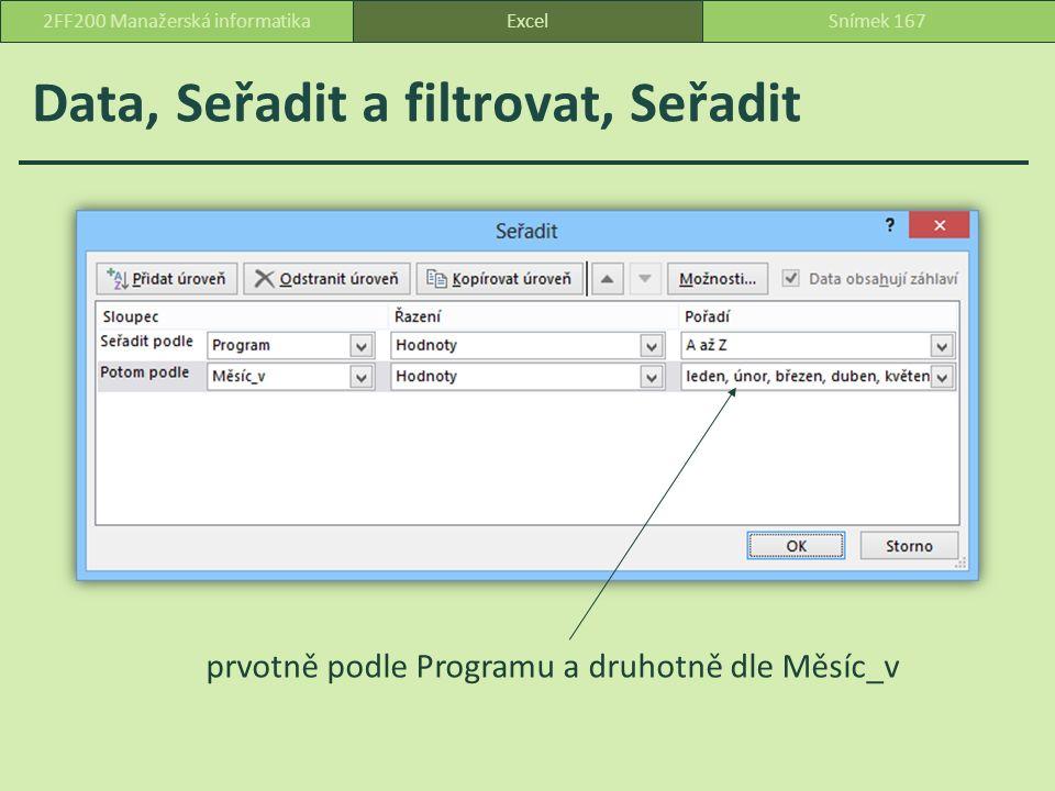 Data, Seřadit a filtrovat, Seřadit ExcelSnímek 1672FF200 Manažerská informatika prvotně podle Programu a druhotně dle Měsíc_v