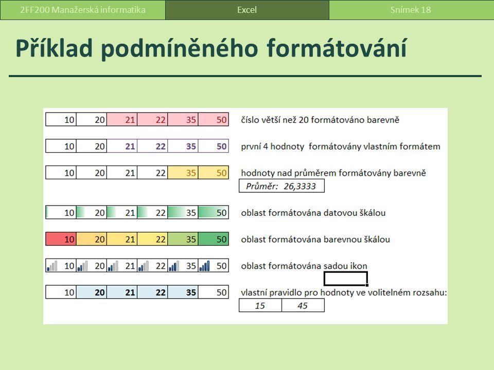 Příklad podmíněného formátování ExcelSnímek 182FF200 Manažerská informatika