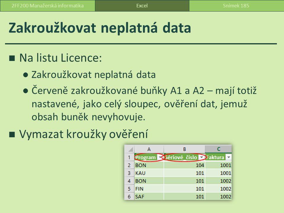 Zakroužkovat neplatná data Na listu Licence: Zakroužkovat neplatná data Červeně zakroužkované buňky A1 a A2 – mají totiž nastavené, jako celý sloupec, ověření dat, jemuž obsah buněk nevyhovuje.