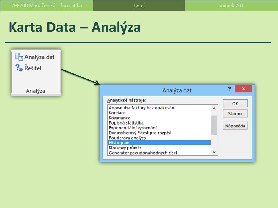 Karta Data – Analýza ExcelSnímek 2012FF200 Manažerská informatika