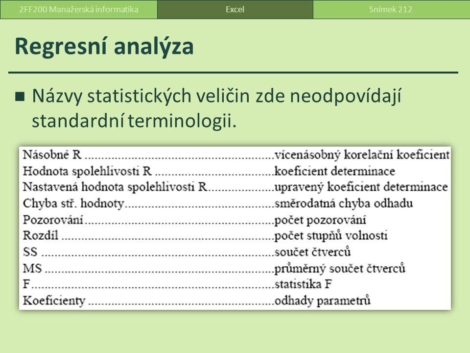 Regresní analýza Názvy statistických veličin zde neodpovídají standardní terminologii.
