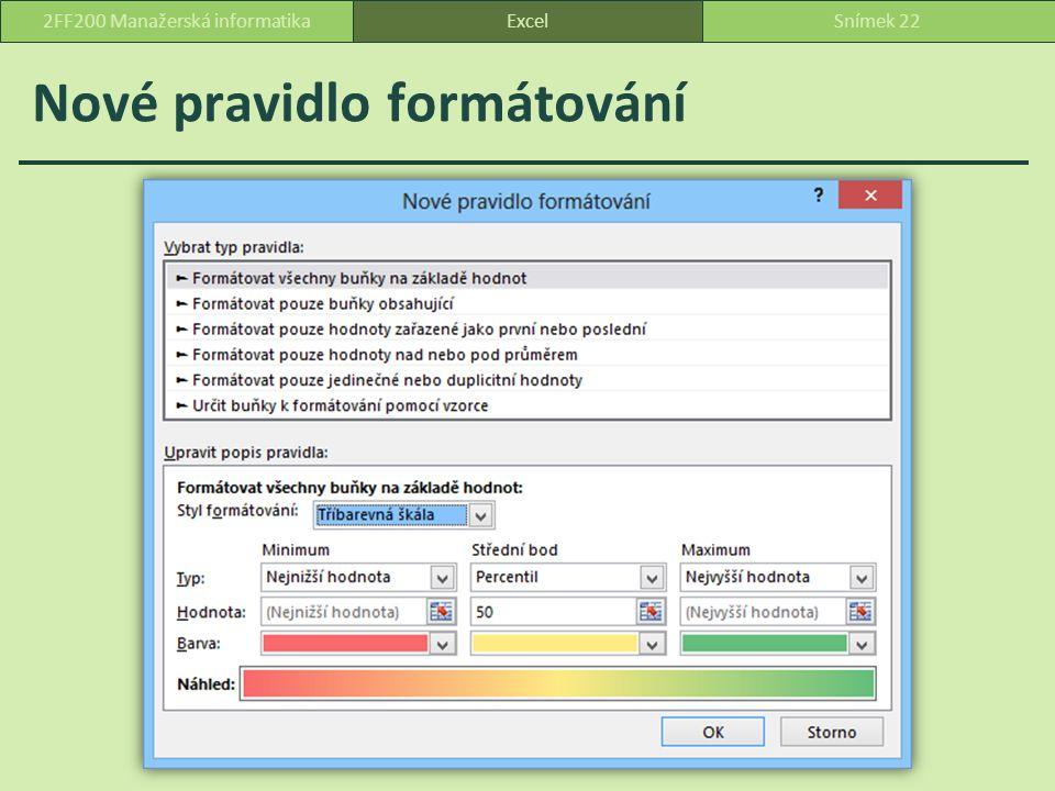 Nové pravidlo formátování ExcelSnímek 222FF200 Manažerská informatika