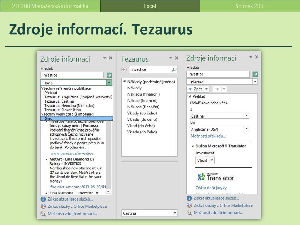 Zdroje informací. Tezaurus ExcelSnímek 2332FF200 Manažerská informatika
