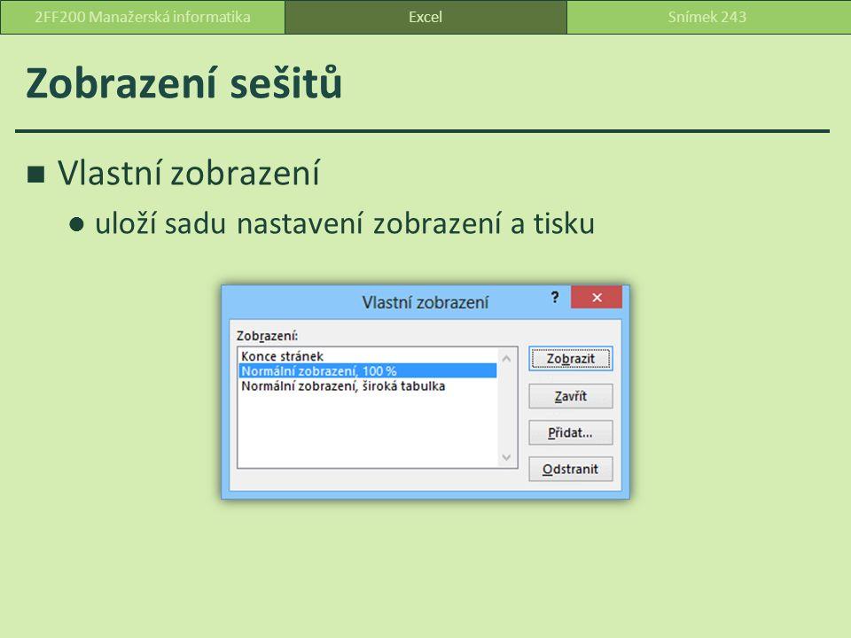 Zobrazení sešitů Vlastní zobrazení uloží sadu nastavení zobrazení a tisku ExcelSnímek 2432FF200 Manažerská informatika