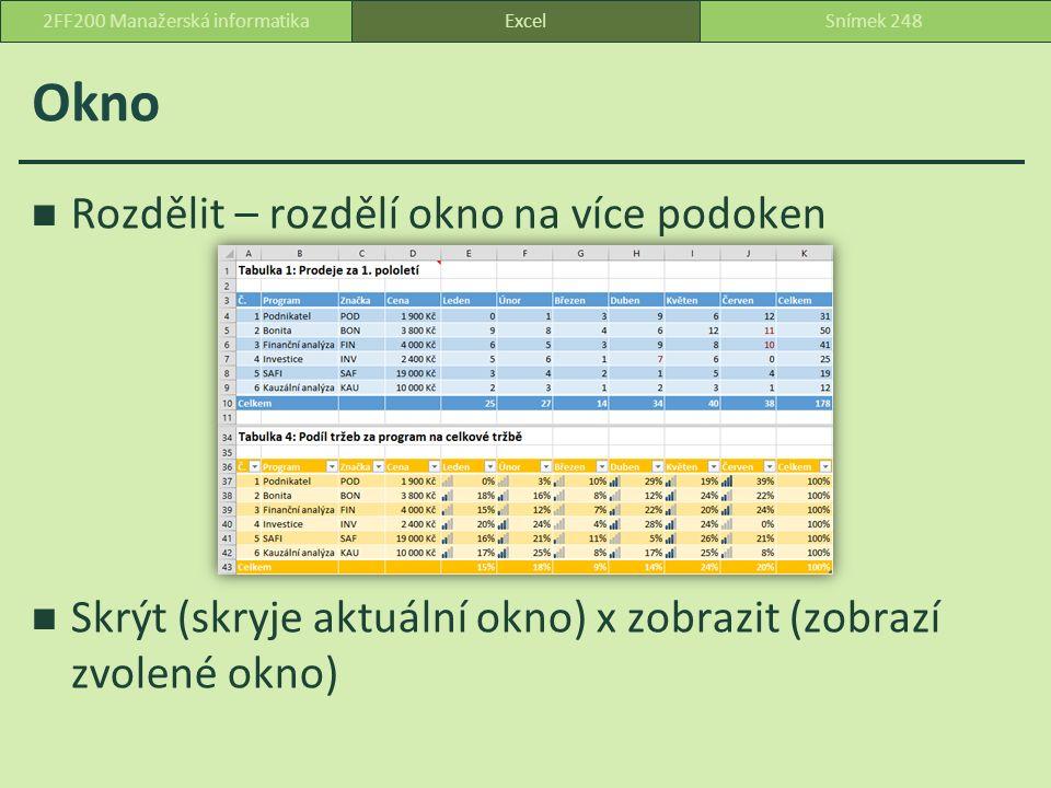 Okno Rozdělit – rozdělí okno na více podoken Skrýt (skryje aktuální okno) x zobrazit (zobrazí zvolené okno) ExcelSnímek 2482FF200 Manažerská informatika