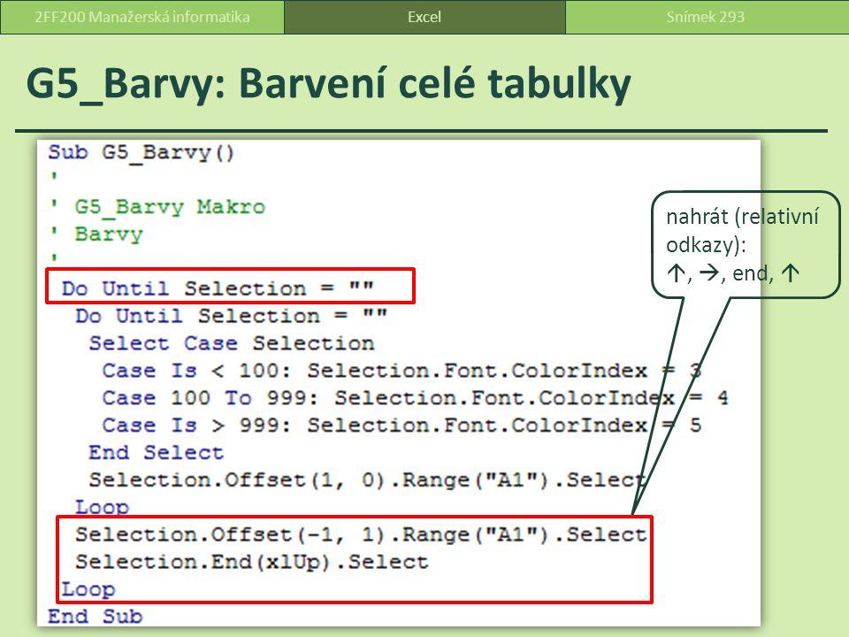 G5_Barvy: Barvení celé tabulky ExcelSnímek 2932FF200 Manažerská informatika nahrát (relativní odkazy): , , end, 