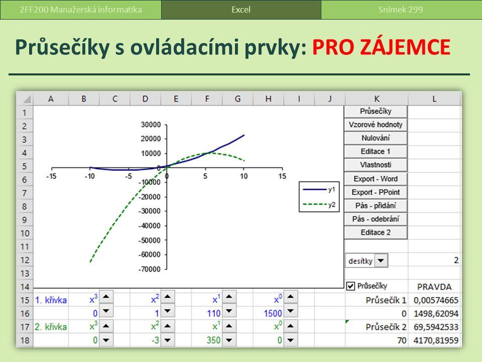 Průsečíky s ovládacími prvky: PRO ZÁJEMCE ExcelSnímek 2992FF200 Manažerská informatika