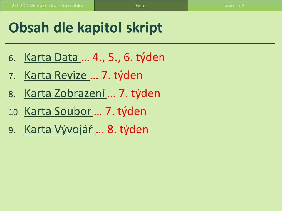 Tabulka dat Tabulku dat použijeme, máme-li vzorec, ve kterém se používá jedna nebo dvě proměnné a chceme přehledně zobrazit na jednom místě všechny výsledky.