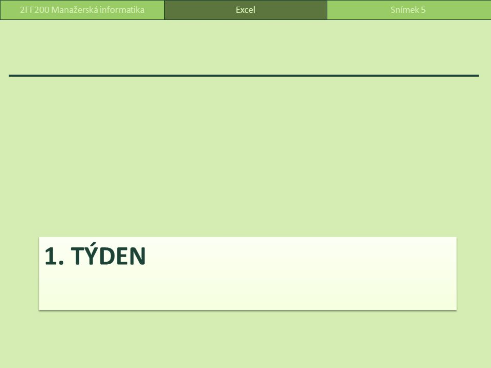 Názvy tabulek Tabulky jsou nazvány: Tab_Faktury (A2:D103) Tab_Licence (A2:C179) Tab_Programy (A2:C7) Tab_Podniky (A2:O70) ExcelSnímek 1162FF200 Manažerská informatika