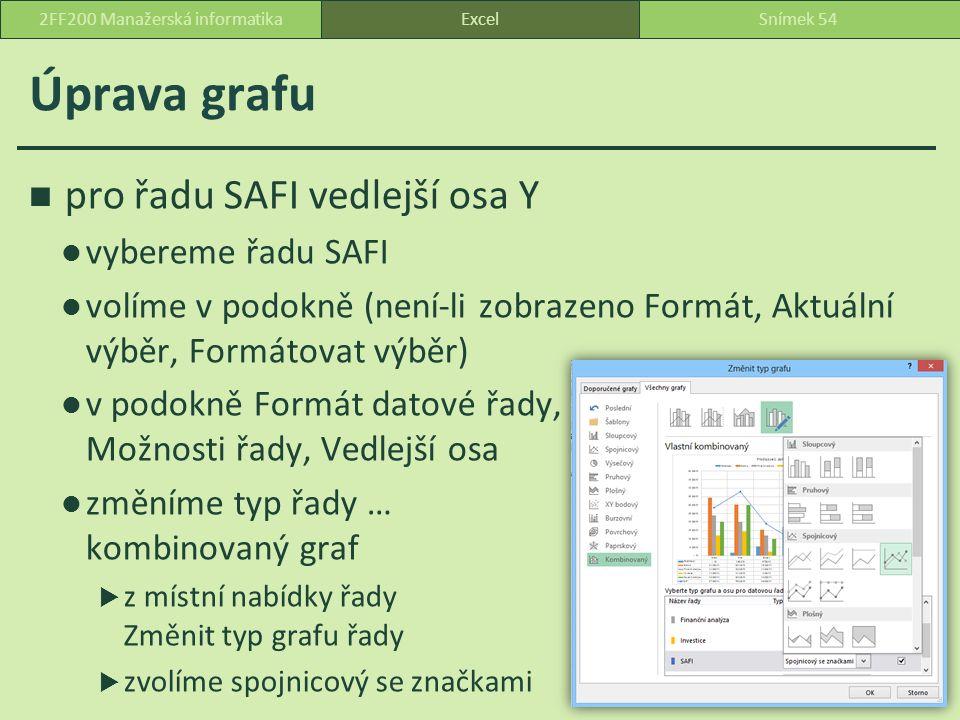 Úprava grafu pro řadu SAFI vedlejší osa Y vybereme řadu SAFI volíme v podokně (není-li zobrazeno Formát, Aktuální výběr, Formátovat výběr) v podokně Formát datové řady, Možnosti řady, Vedlejší osa změníme typ řady … kombinovaný graf  z místní nabídky řady Změnit typ grafu řady  zvolíme spojnicový se značkami ExcelSnímek 542FF200 Manažerská informatika