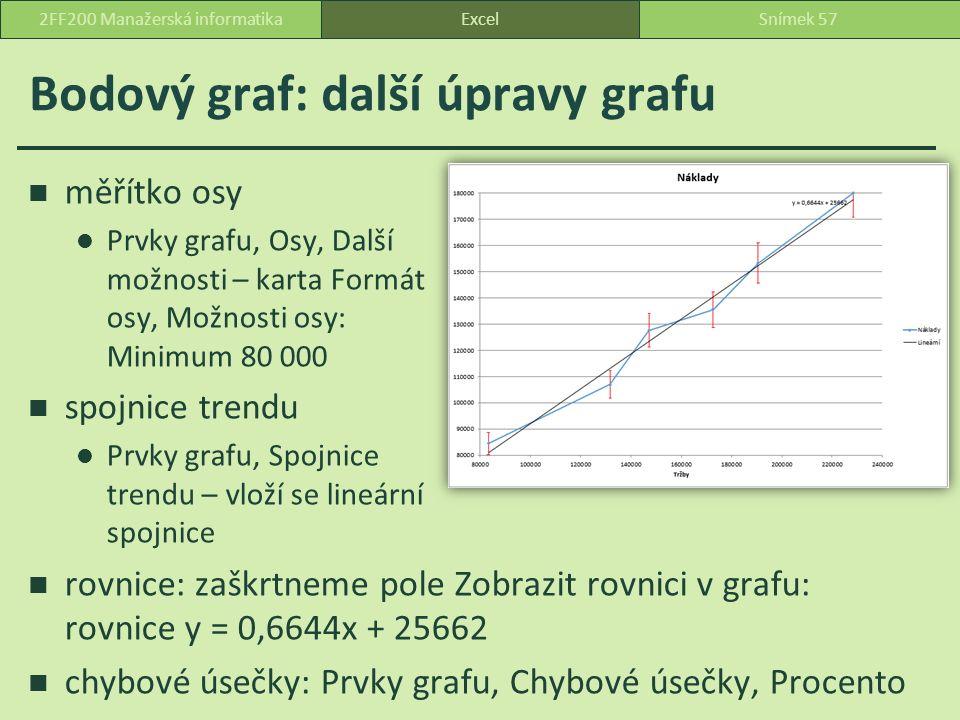 Bodový graf: další úpravy grafu ExcelSnímek 572FF200 Manažerská informatika měřítko osy Prvky grafu, Osy, Další možnosti – karta Formát osy, Možnosti osy: Minimum 80 000 spojnice trendu Prvky grafu, Spojnice trendu – vloží se lineární spojnice rovnice: zaškrtneme pole Zobrazit rovnici v grafu: rovnice y = 0,6644x + 25662 chybové úsečky: Prvky grafu, Chybové úsečky, Procento