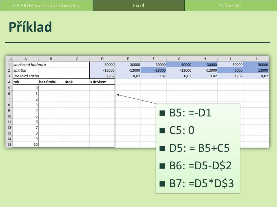 Příklad ExcelSnímek 832FF200 Manažerská informatika B5: =-D1 C5: 0 D5: = B5+C5 B6: =D5-D$2 B7: =D5*D$3 B5: =-D1 C5: 0 D5: = B5+C5 B6: =D5-D$2 B7: =D5*D$3