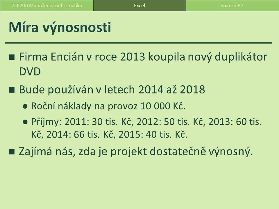 Míra výnosnosti Firma Encián v roce 2013 koupila nový duplikátor DVD Bude používán v letech 2014 až 2018 Roční náklady na provoz 10 000 Kč.