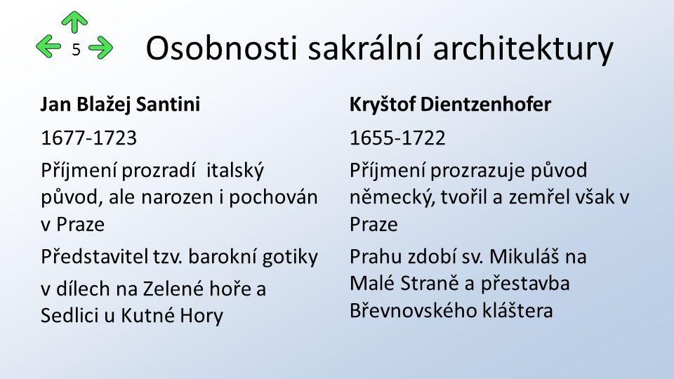 Osobnosti sakrální architektury Jan Blažej Santini 1677-1723 Příjmení prozradí italský původ, ale narozen i pochován v Praze Představitel tzv. barokní