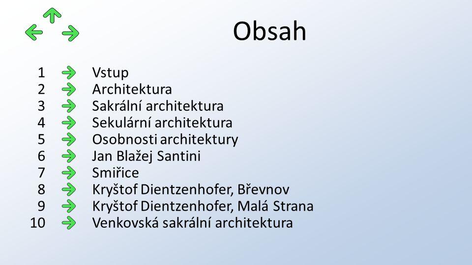 Obsah Vstup1 Architektura2 Sakrální architektura3 Sekulární architektura4 Osobnosti architektury5 Jan Blažej Santini6 Smiřice7 Kryštof Dientzenhofer,