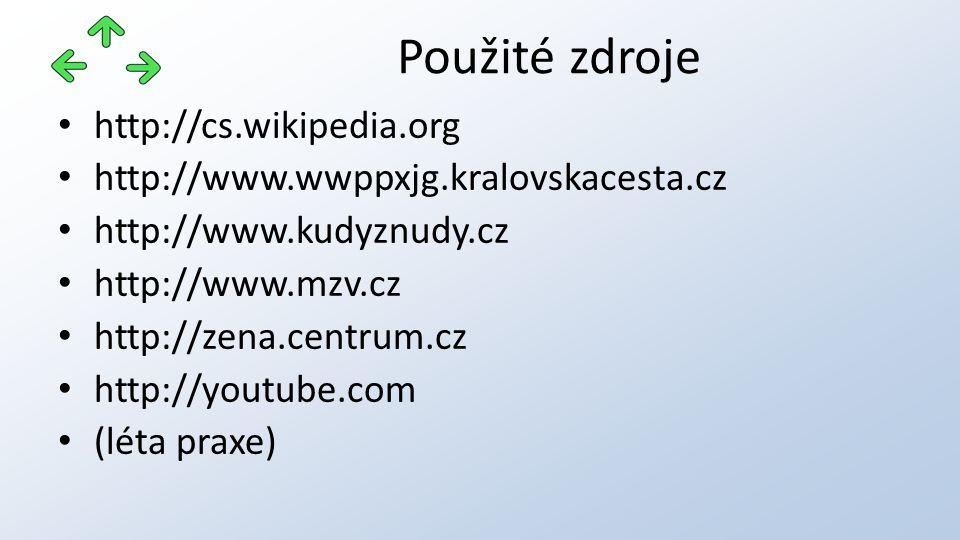 http://cs.wikipedia.org http://www.wwppxjg.kralovskacesta.cz http://www.kudyznudy.cz http://www.mzv.cz http://zena.centrum.cz http://youtube.com (léta