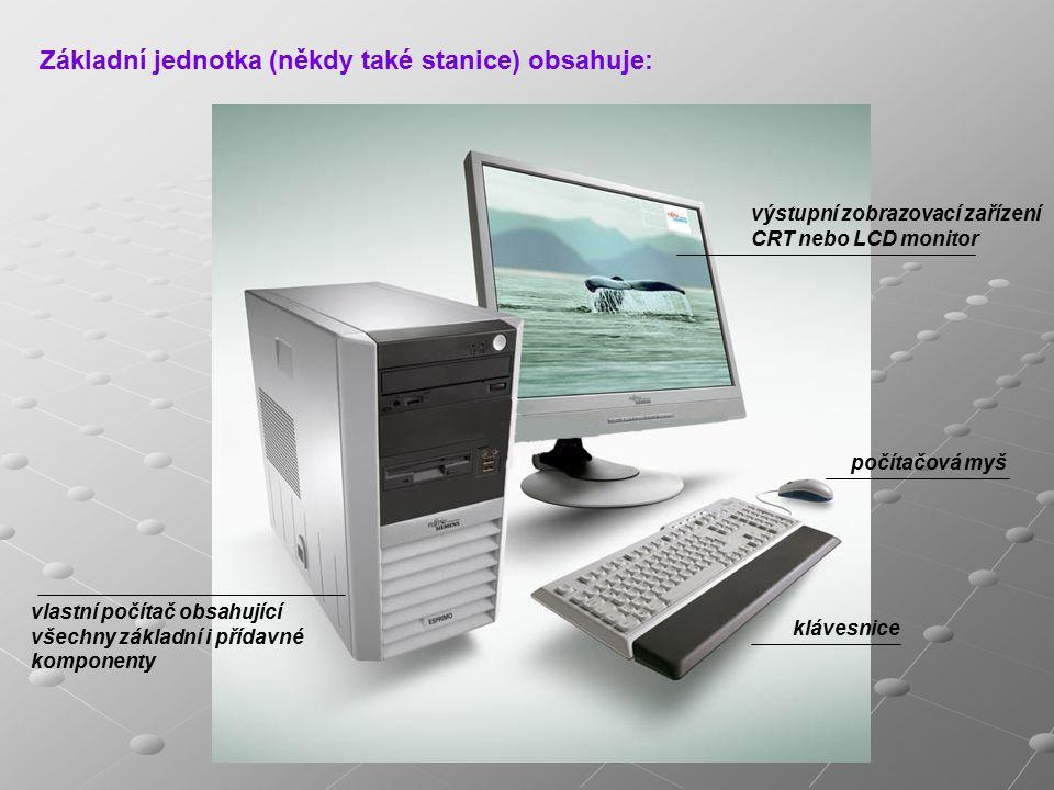 Základní komponenty počítače Skříň počítače (case) Základním konstrukčním prvkem počítače je skříň, do které jsou všechny další důležité součástky, kterým se říká komponenty.