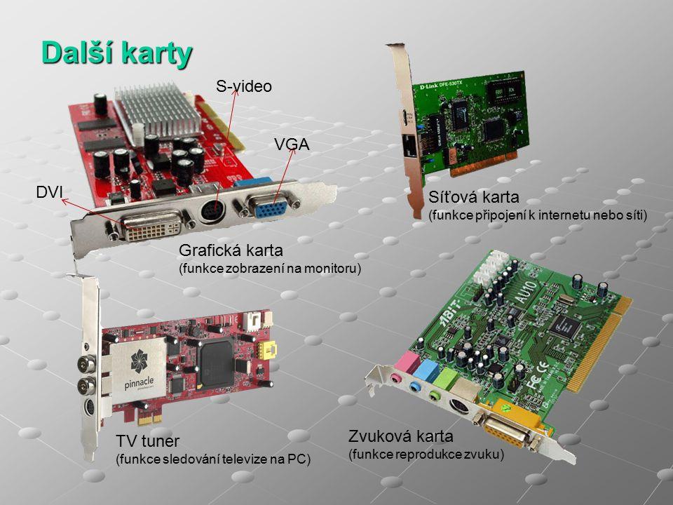 Další karty Grafická karta (funkce zobrazení na monitoru) TV tuner (funkce sledování televize na PC) Síťová karta (funkce připojení k internetu nebo síti) Zvuková karta (funkce reprodukce zvuku) S-video VGA DVI