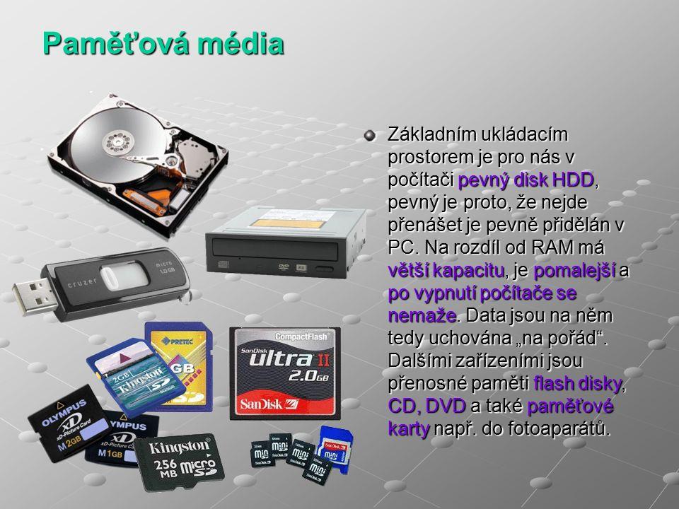 Paměťová média Základním ukládacím prostorem je pro nás v počítači pevný disk HDD, pevný je proto, že nejde přenášet je pevně přidělán v PC.