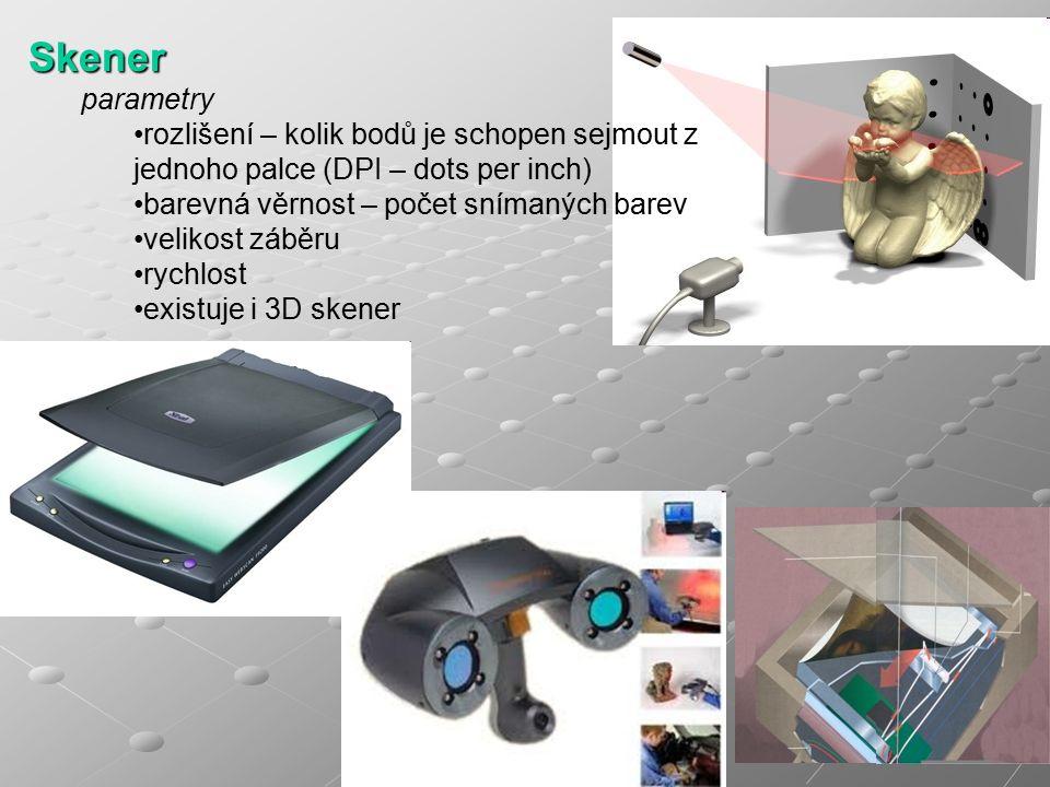 Skener parametry rozlišení – kolik bodů je schopen sejmout z jednoho palce (DPI – dots per inch) barevná věrnost – počet snímaných barev velikost záběru rychlost existuje i 3D skener