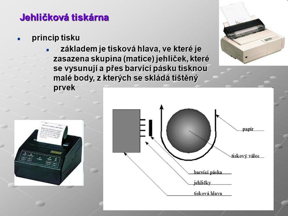 Jehličková tiskárna princip tisku princip tisku základem je tisková hlava, ve které je zasazena skupina (matice) jehliček, které se vysunují a přes barvící pásku tisknou malé body, z kterých se skládá tištěný prvek základem je tisková hlava, ve které je zasazena skupina (matice) jehliček, které se vysunují a přes barvící pásku tisknou malé body, z kterých se skládá tištěný prvek