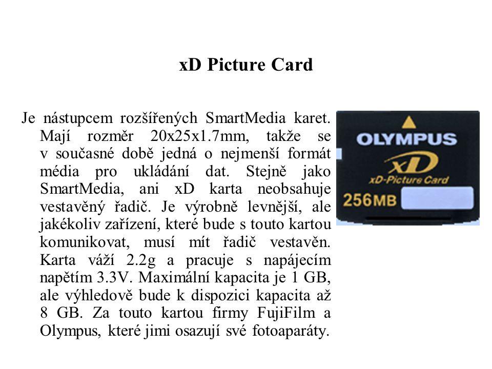 xD Picture Card Je nástupcem rozšířených SmartMedia karet. Mají rozměr 20x25x1.7mm, takže se v současné době jedná o nejmenší formát média pro ukládán