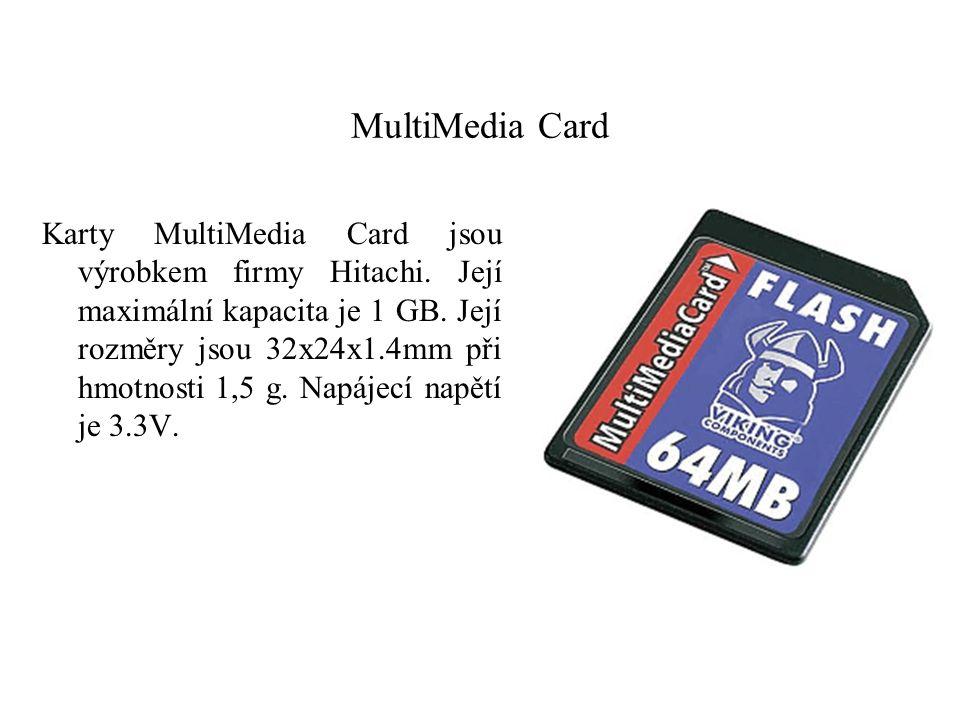 MultiMedia Card Karty MultiMedia Card jsou výrobkem firmy Hitachi. Její maximální kapacita je 1 GB. Její rozměry jsou 32x24x1.4mm při hmotnosti 1,5 g.