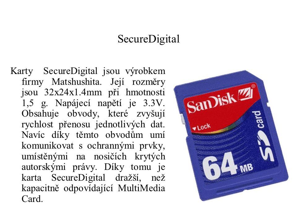 SecureDigital Karty SecureDigital jsou výrobkem firmy Matshushita. Její rozměry jsou 32x24x1.4mm při hmotnosti 1,5 g. Napájecí napětí je 3.3V. Obsahuj