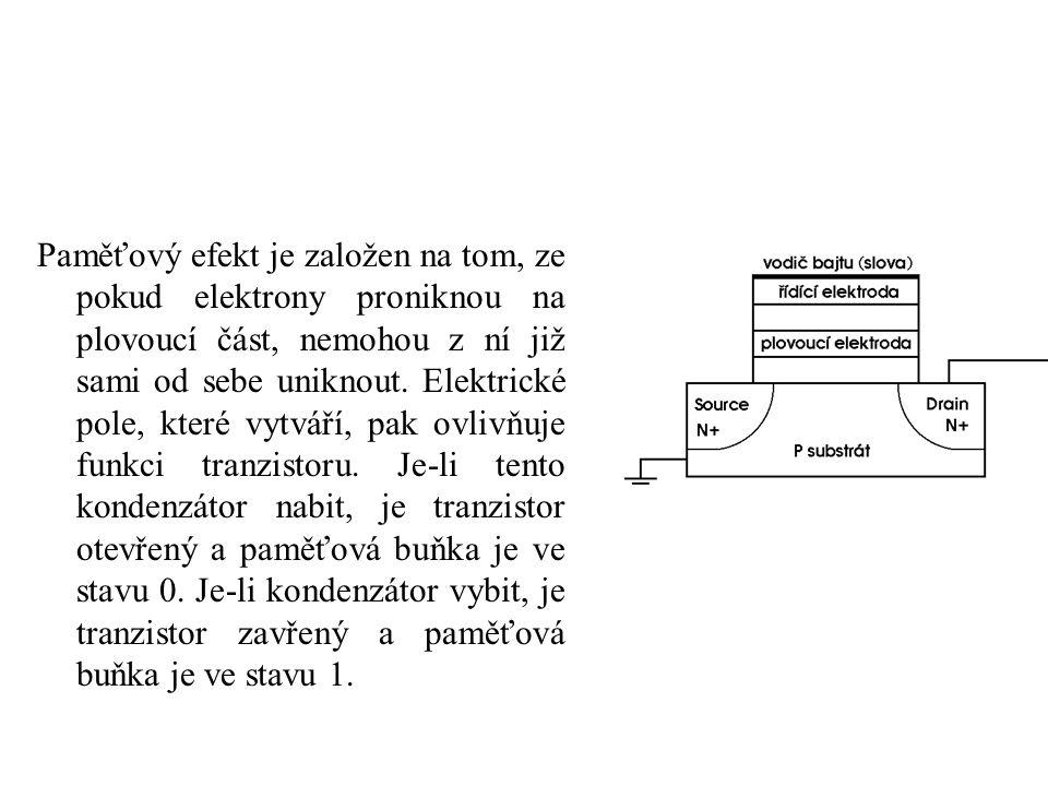 Paměťový efekt je založen na tom, ze pokud elektrony proniknou na plovoucí část, nemohou z ní již sami od sebe uniknout. Elektrické pole, které vytvář