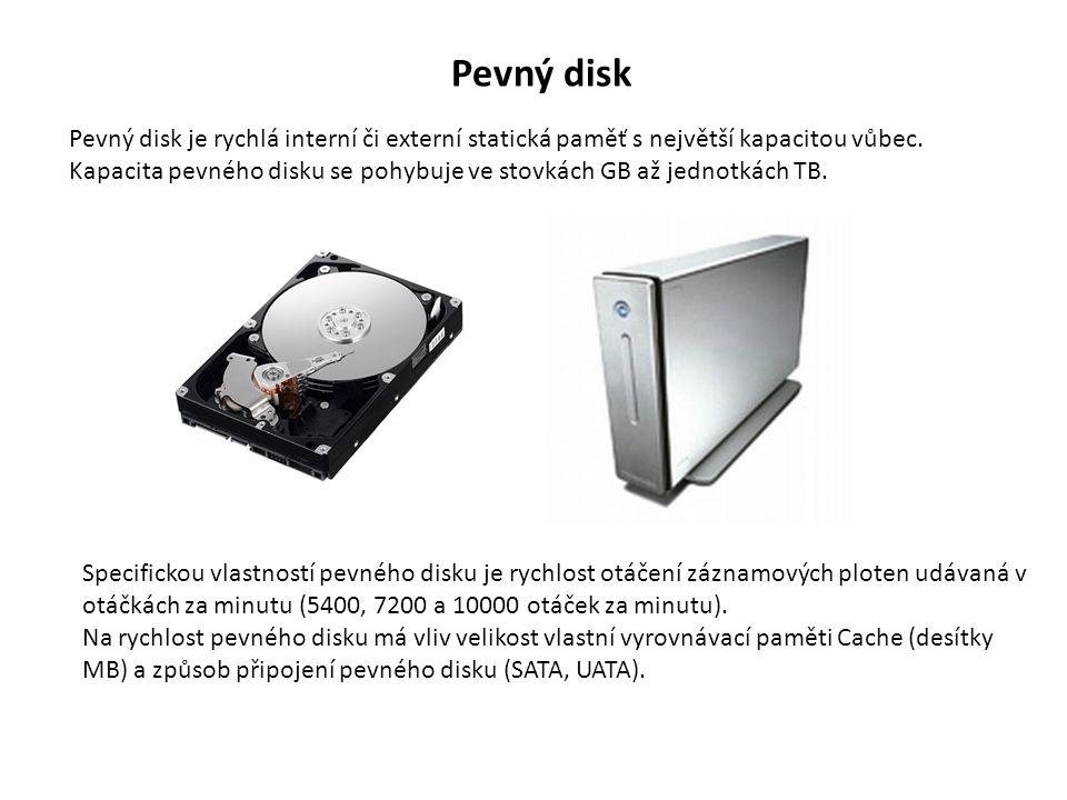 Pevný disk Pevný disk je rychlá interní či externí statická paměť s největší kapacitou vůbec.