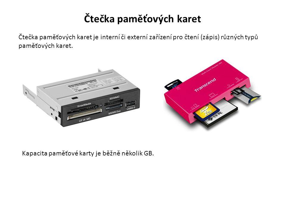 Čtečka paměťových karet Čtečka paměťových karet je interní či externí zařízení pro čtení (zápis) různých typů paměťových karet.