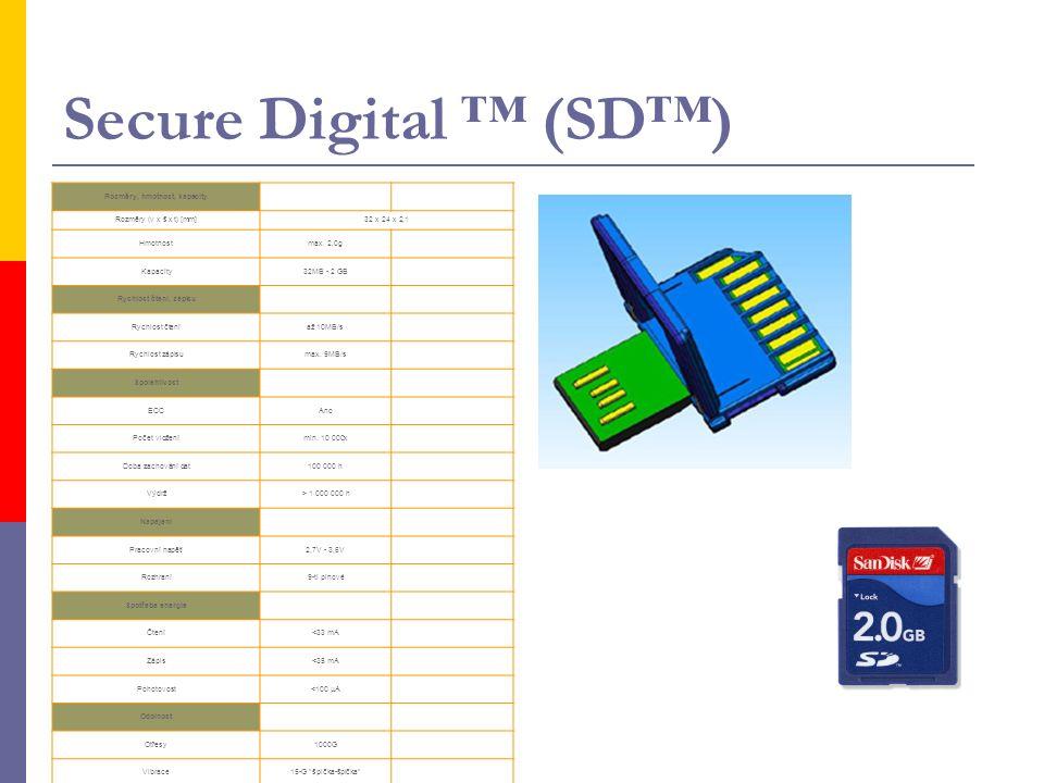 Secure Digital ™ (SD™) Rozměry, hmotnost, kapacity Rozměry (v x š x t) [mm]32 x 24 x 2,1 Hmotnostmax. 2,0g Kapacity32MB - 2 GB Rychlost čtení, zápisu