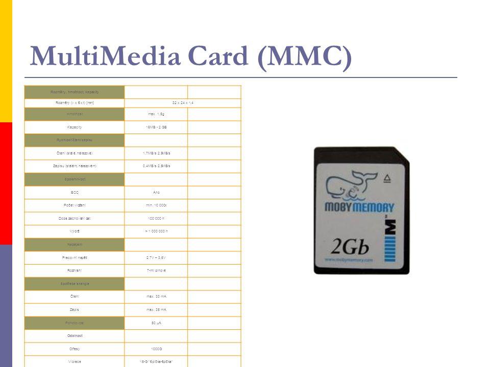 MultiMedia Card (MMC) Rozměry, hmotnost, kapacity Rozměry (v x š x t) [mm]32 x 24 x 1,4 Hmotnostmax. 1,5g Kapacity16MB - 2 GB Rychlost čtení/zápisu Čt