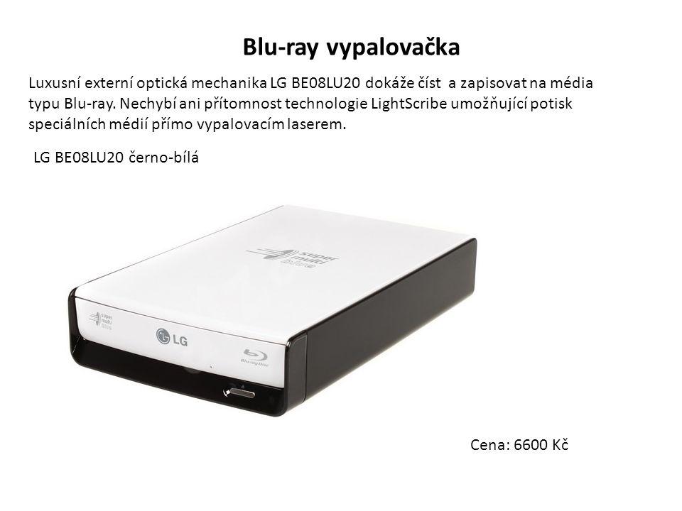 Blu-ray vypalovačka Luxusní externí optická mechanika LG BE08LU20 dokáže číst a zapisovat na média typu Blu-ray.