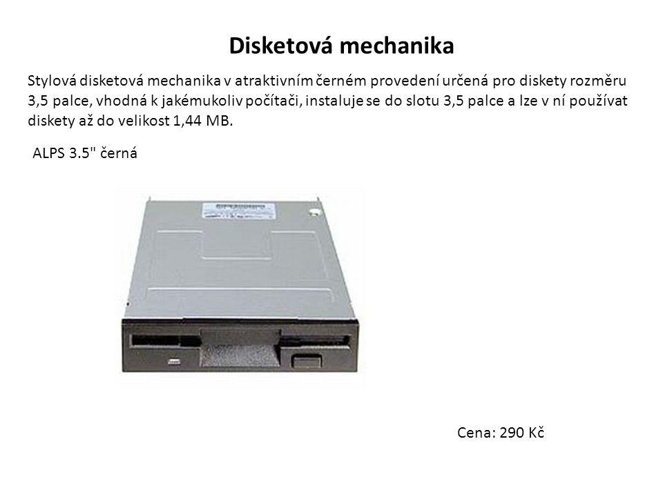Disketová mechanika Stylová disketová mechanika v atraktivním černém provedení určená pro diskety rozměru 3,5 palce, vhodná k jakémukoliv počítači, instaluje se do slotu 3,5 palce a lze v ní používat diskety až do velikost 1,44 MB.