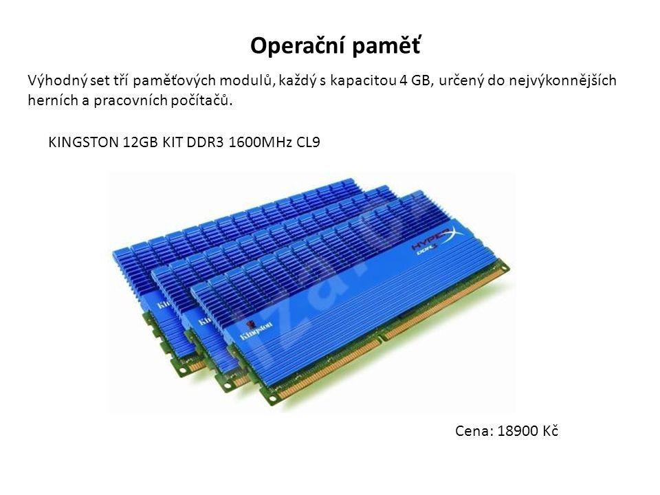 Operační paměť Výhodný set tří paměťových modulů, každý s kapacitou 4 GB, určený do nejvýkonnějších herních a pracovních počítačů. KINGSTON 12GB KIT D