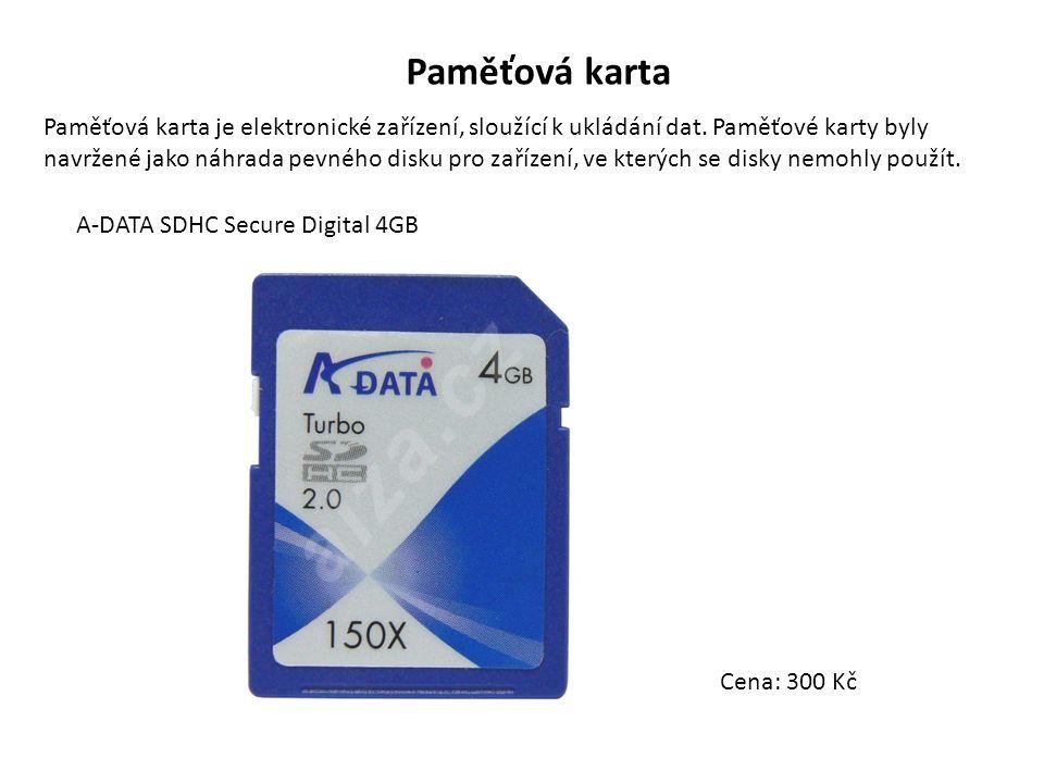 Paměťová karta Paměťová karta je elektronické zařízení, sloužící k ukládání dat. Paměťové karty byly navržené jako náhrada pevného disku pro zařízení,