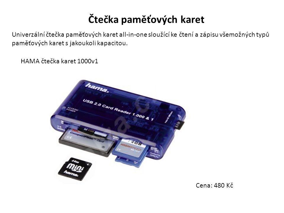 Čtečka paměťových karet Univerzální čtečka paměťových karet all-in-one sloužící ke čtení a zápisu všemožných typů paměťových karet s jakoukoli kapacit