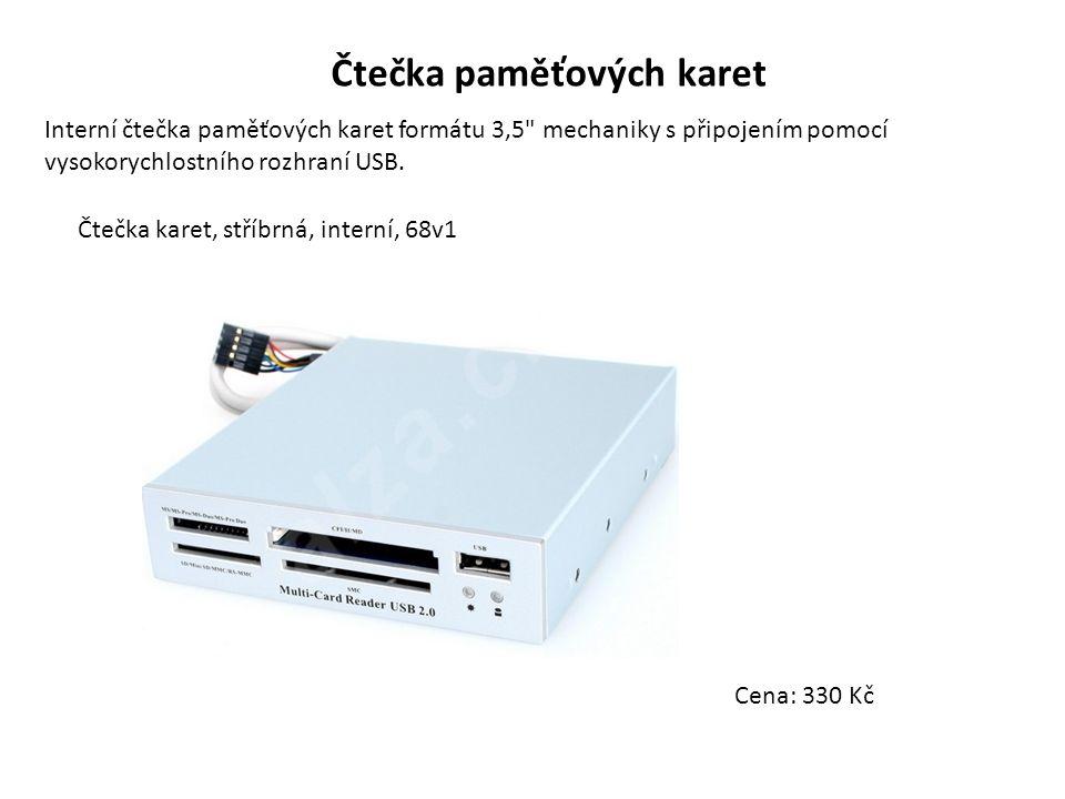 Čtečka paměťových karet Interní čtečka paměťových karet formátu 3,5 mechaniky s připojením pomocí vysokorychlostního rozhraní USB.