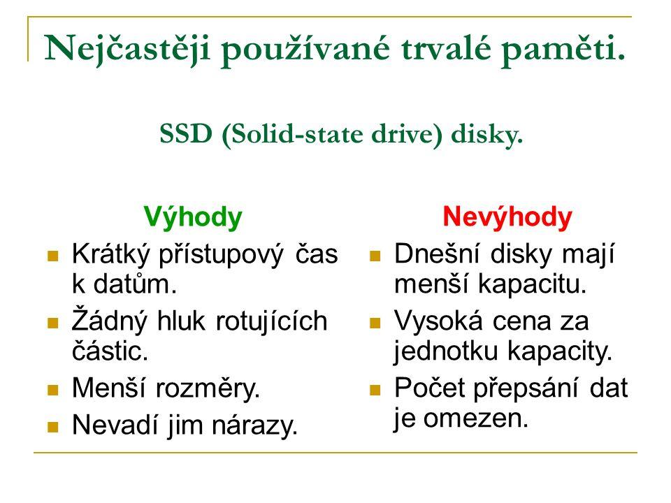 Nejčastěji používané trvalé paměti. SSD (Solid-state drive) disky.